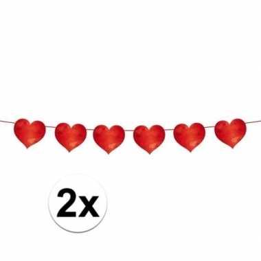2x slinger rode hartjes 6 meter valentijn en bruiloft versiering