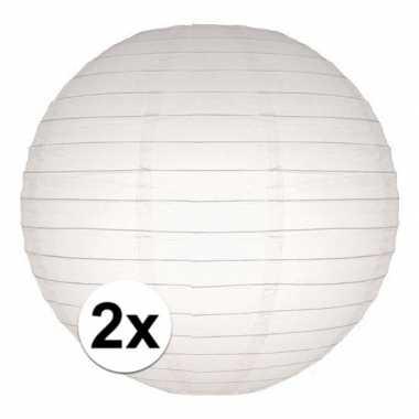 2x stuks luxe bol lampionnen wit 25 cm