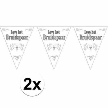 2x stuks vlaggenlijnen bruiloft / bruidspaar / huwelijk