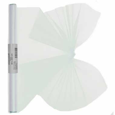 2x stuks witte organza stof op rol 40 x 200 cm