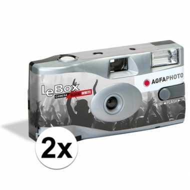 2x wegwerp cameras met flitser voor 36 zwart/wit fotos