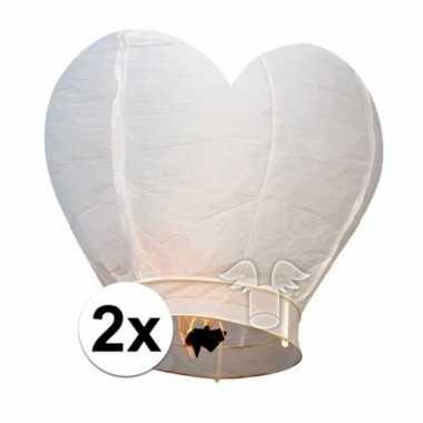 2x wensballon wit hart 100 cm