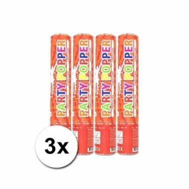 3 confetti kanonnen rood 28 cm