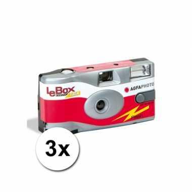 3 wegwerp cameras met flitser