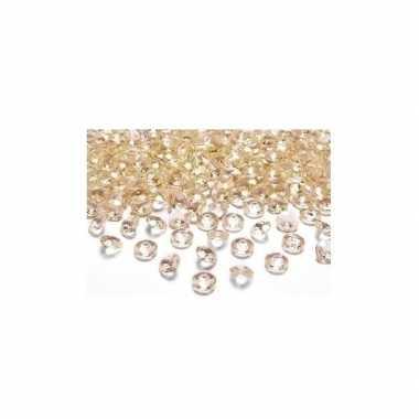 30 decoratie diamantjes goud 2 cm