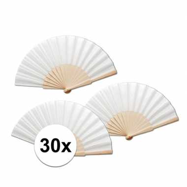 30 stuks zomerse spaanse waaiers wit