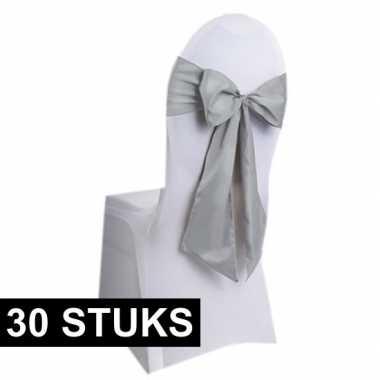 30x bruiloft stoel decoratie zilveren strikken