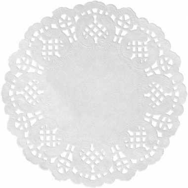 30x bruiloft witte ronde placemats 35 cm papier kanten uiterlijk