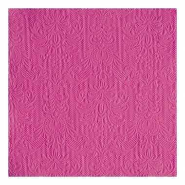 30x luxe barok print roze servetten 33 x 33 cm
