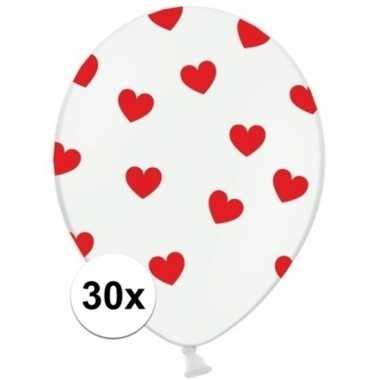 30x stuks witte ballonnen met hartjes rood