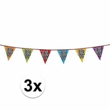 3x 12,5 jaar vlaggenlijn glitters