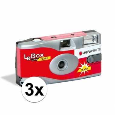 3x bruiloft/vrijgezellenfeest wegwerp camera 27 fotos met flits
