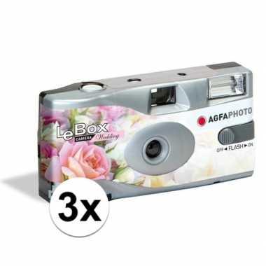 3x bruiloft wegwerp cameras met flitser voor 27 kleuren fotos