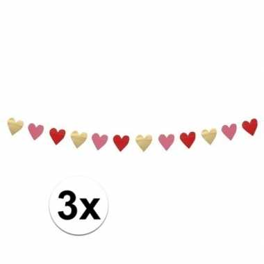 3x hartjes slinger rood, roze en goud 2 meter