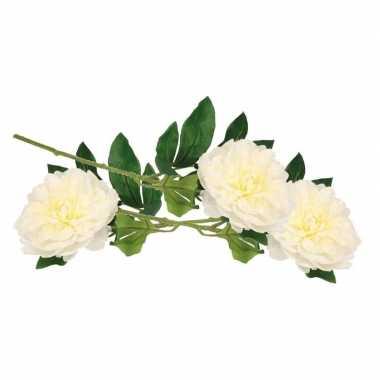3x kunstbloemen pioenrozen tak 42 cm wit