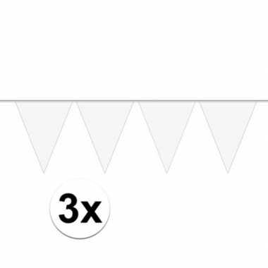 3x mini vlaggenlijn / slinger versiering wit