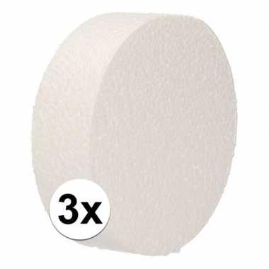 3x piepschuim schijf 10 cm breed en 3 cm dik