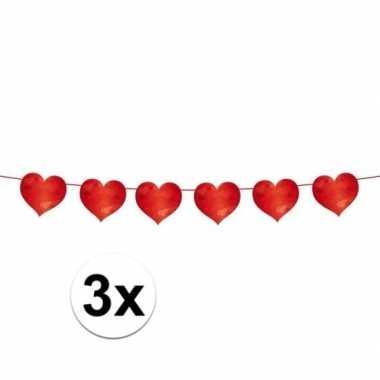 3x slinger rode hartjes 6 meter valentijn en bruiloft versiering