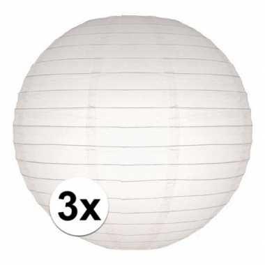 3x stuks luxe bol lampionnen wit 25 cm