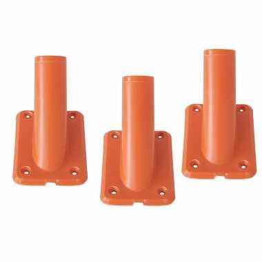 3x stuks vlaggenstokhouders / vlaggenhouders oranje voor vlaggen tot 32 mm