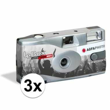 3x wegwerp cameras met flitser voor 36 zwart/wit fotos