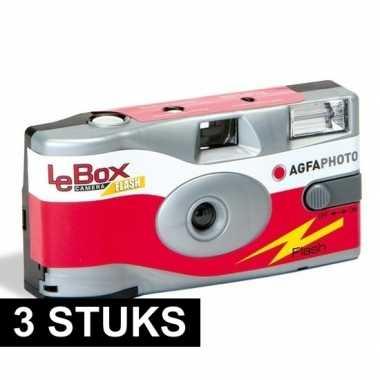 3x wegwerp cameras met flitser