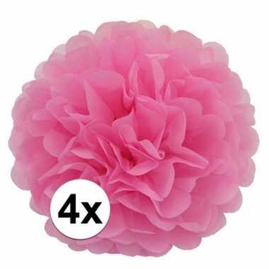 4 lichtroze decoratie pompoms 35 cm