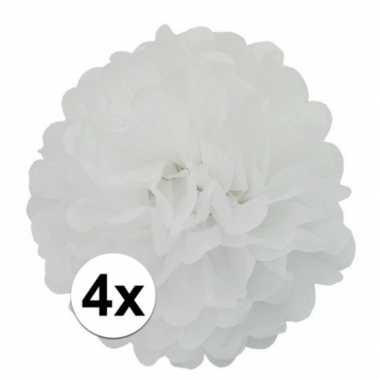 4 witte decoratie pompoms 35 cm
