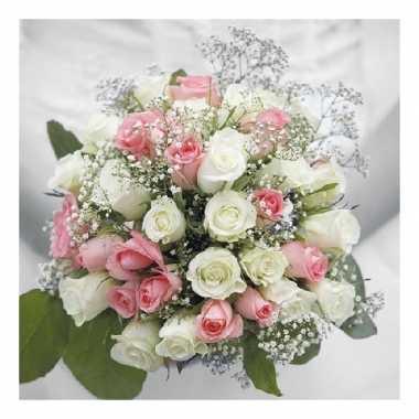 40x bruiloft/huwelijk thema servetten bruidsboeket 33 x 33 cm