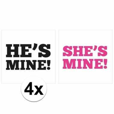 4x hetero koppel bruiloft schoenzool stickers