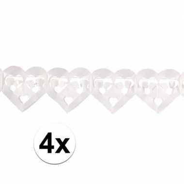 4x huwelijk slinger hartjes wit 6 meter