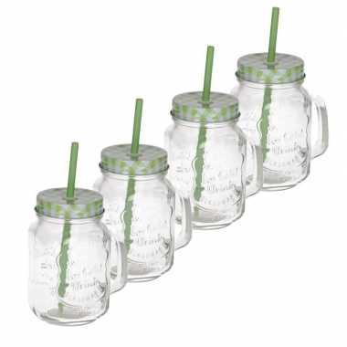 4x mason jar/smoothie beker groen met rietje 500 ml