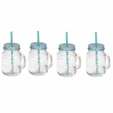 4x mason jars/smoothie bekers blauw met rietje 500 ml