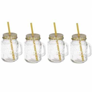 4x mason jars/smoothie bekers geel met rietje 500 ml