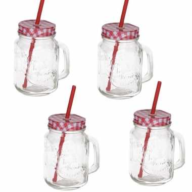 4x mason jars/smoothie bekers rood met rietje 500 ml