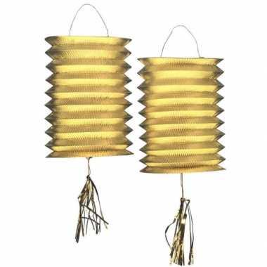 4x metallic gouden lampionnen 25 cm