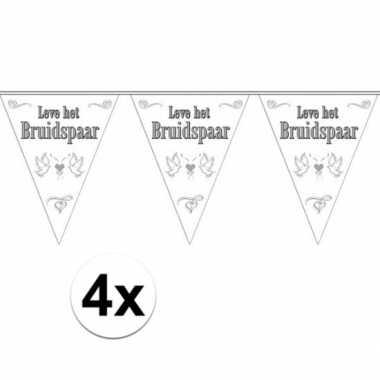 4x stuks vlaggenlijnen bruiloft / bruidspaar / huwelijk