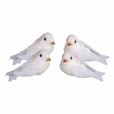 4x witte decoratie duiven met glitters 5 cm