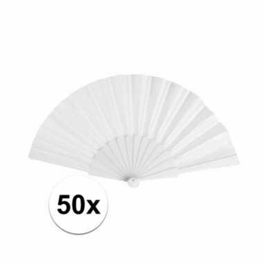 50 stuks spaanse bruiloft handwaaiers wit 23 cm