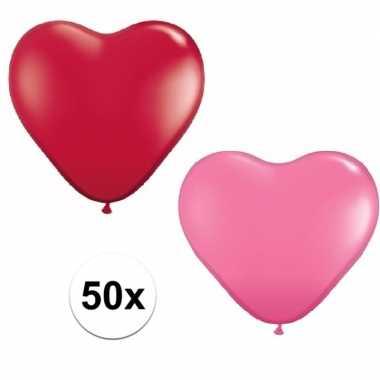 50x bruiloft ballonnen rood / roze hartjes versiering