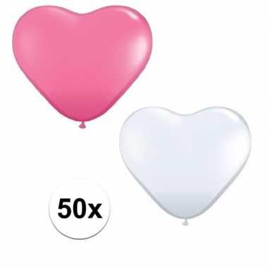 50x bruiloft ballonnen wit / roze hartjes versiering