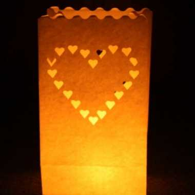 50x candle bags set hart 26 cm