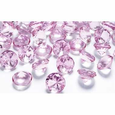 50x decoratie diamantjes lichtroze 2 cm