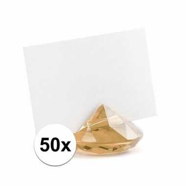 50x kaarthouder standaard gouden diamant 10x