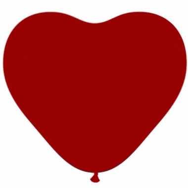 50x valentijn hartjes ballonnen donker rood