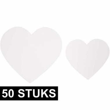 50x witte decoratie hartjes van karton om te knutselen