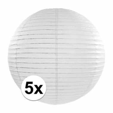 5x luxe witte bol lampionnen van 35 cm