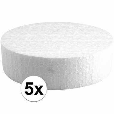 5x piepschuim schijven 15 cm breed en 4 cm dik