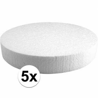 5x piepschuim schijven 25 cm breed en 4 cm dik
