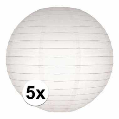 5x stuks luxe bol lampionnen wit 25 cm